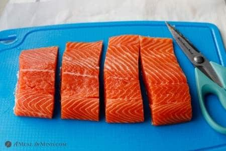 fillets of salmon ready to be brushed with hoisin mixture